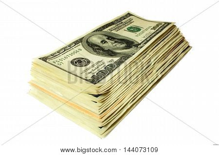 one hundred dollars banknotes are stacked on a white background