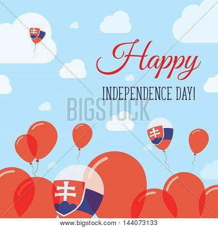 Slovakia Independence Day Flat Patriotic Design. Slovak Flag Balloons. Happy National Day Vector Car