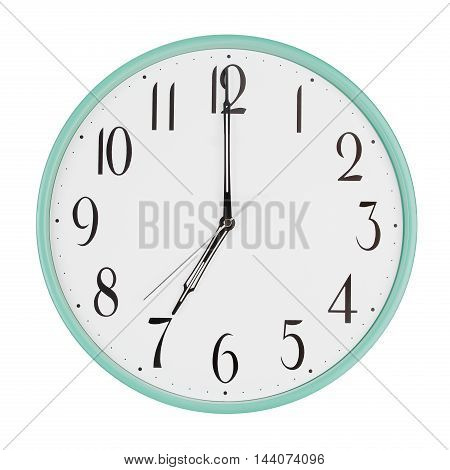 Big round clock shows exactly seven o'clock