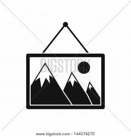 Painting with nature icon in simple style isolated on white background. Canvas symbol
