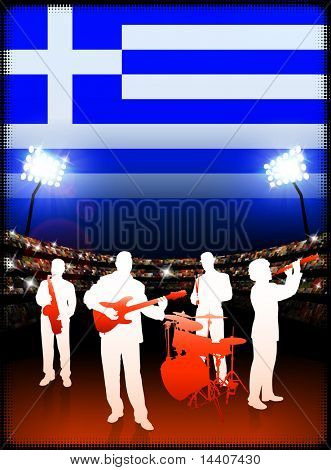 Greece Live Music Band on Stadium Concert Background with Flag Original Illustration