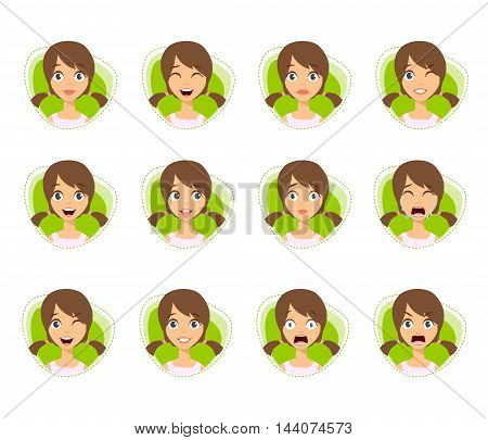 Set Of Woman Avatar Expressions With Two Ponytails
