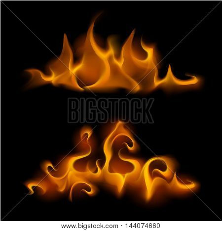 Vector Set of  Different Yellow Orange Fire Flame Bonfire Isolated on Background