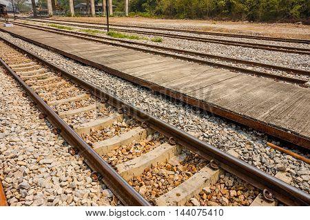 image of railway tracks closeup, old style