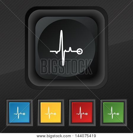 Heartbeat Icon Symbol. Set Of Five Colorful, Stylish Buttons On Black Texture For Your Design. Vecto