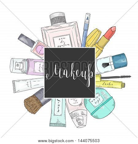 Hand drawn cosmetics set. Beauty and makeup. Sketch