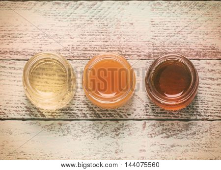 Healthy Honey Composition, Wooden Background, Vintage Filters