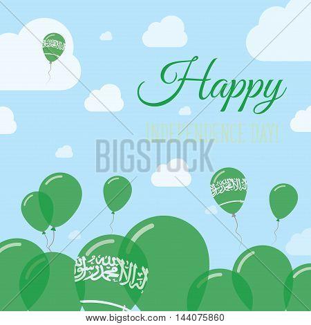 Saudi Arabia Independence Day Flat Patriotic Design. Saudi Arabian Flag Balloons. Happy National Day