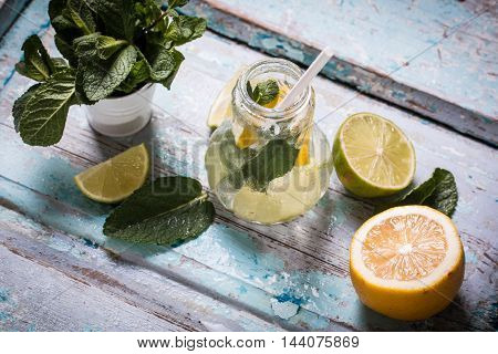 Freshness Drink  On Wooden Table , Healthy Concept