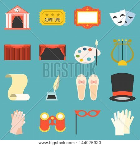 Vector drama opera icons set, flat design
