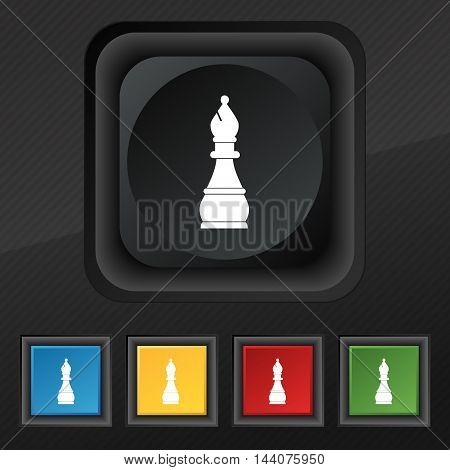 Chess Bishop Icon Symbol. Set Of Five Colorful, Stylish Buttons On Black Texture For Your Design. Ve