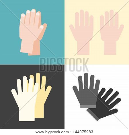 Vector hand and gloves set, flat design