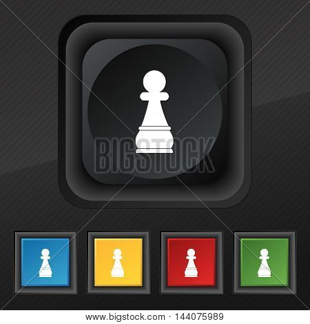 Chess Pawn Icon Symbol. Set Of Five Colorful, Stylish Buttons On Black Texture For Your Design. Vect