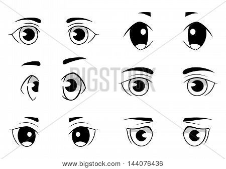 Set of anime style eyes isolated on white background. Front and side view
