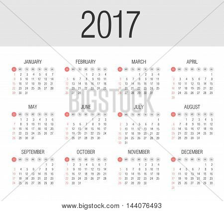 Vector Simple 2017 year calendar. Week starts from Sunday, eps 10