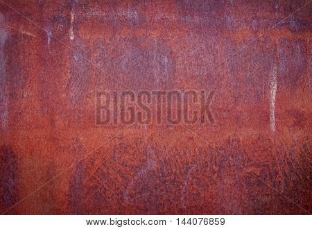 Red rusty scratched dirty metal texture, grunge background