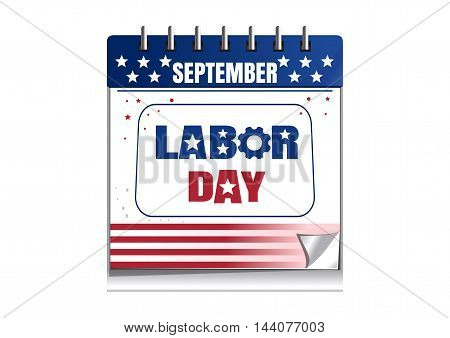 Labor Day calendar. Calendar painted in the colors of the US flag isolated on white background. Vector illustration