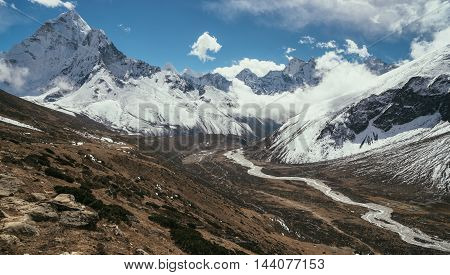 Ama Dablam Peak Or Summit And Pheriche Valley In Himalayas
