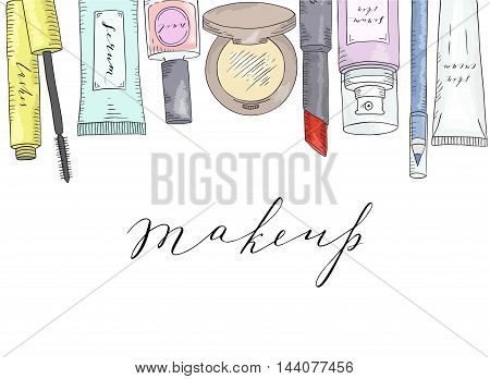 Hand drawn cosmetics set. Beauty and makeup. The image has a mask applied.