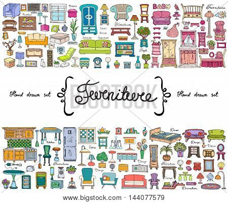 Vector set with hand drawn colored doodles on the theme of furniture. Flat illustrations of objects for decoration and interior. Sketches for use in design