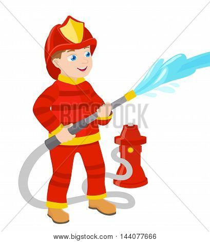 cartoon young fireman on white vector illustration