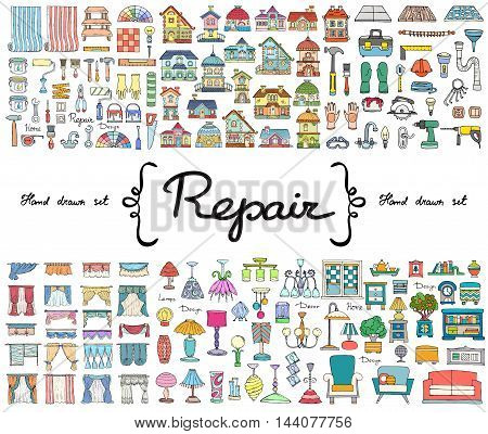 Vector set with hand drawn colored doodles on the theme of repair. Flat illustrations of furniture curtains lamps houses building tools. Sketches for use in design