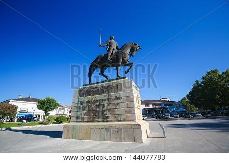BATALHA PORTUGAL - JULY 24 2016: Equestrian statue of Dom Nuno Alvares Pereira at the Monastery of Batalha in Portugal. He was a Portuguese 14th Century general of great success.