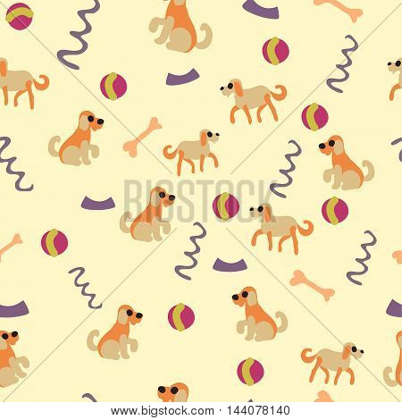 Vector seamless pattern with funny dogs, balls, bones,  dog bowls and dog leashes