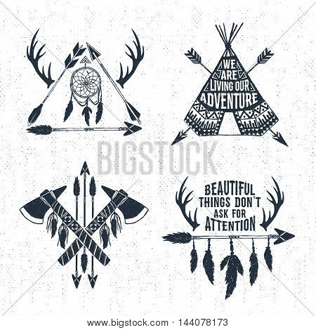 Hand drawn tribal labels set with arrows teepee tomahawks and feathers vector illustrations and inspirational lettering.