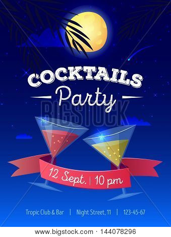 Vector cocktails party poster with night beach landscape. Moon, palm trees and cocktail glasses illustration.