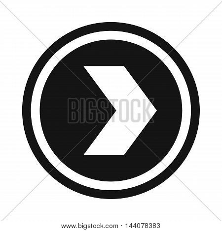 Arrow to right in circle icon in simple style isolated on white background. Click and choice symbol