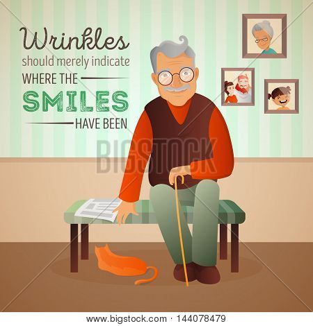Vector illustration of an old man sitting in the room on the sofa with his cat and newspaper. Grandfather card with quote about age.