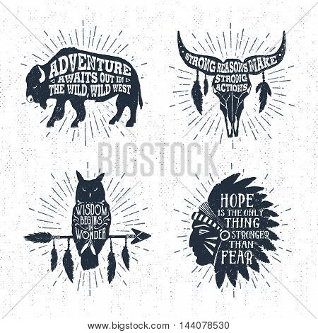 Hand drawn tribal labels set with buffalo skull owl and headdress vector illustrations and inspirational lettering.