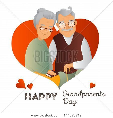 Grandparents Day vector design template. Illustration with grandfather and grandmother. Cute old couple greeting card. Love and devotion concept.