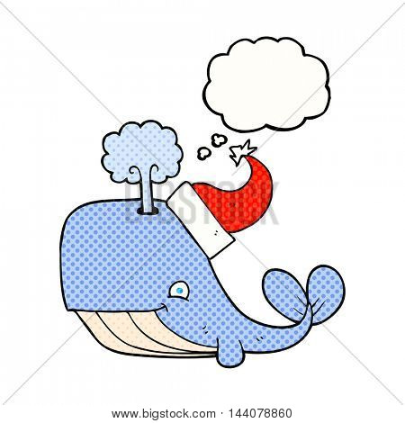 freehand drawn thought bubble cartoon whale wearing christmas hat