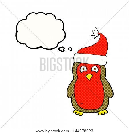 freehand drawn thought bubble cartoon christmas robin wearing christmas hat