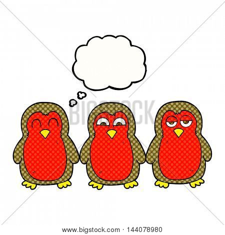 freehand drawn thought bubble cartoon christmas robins holding hands