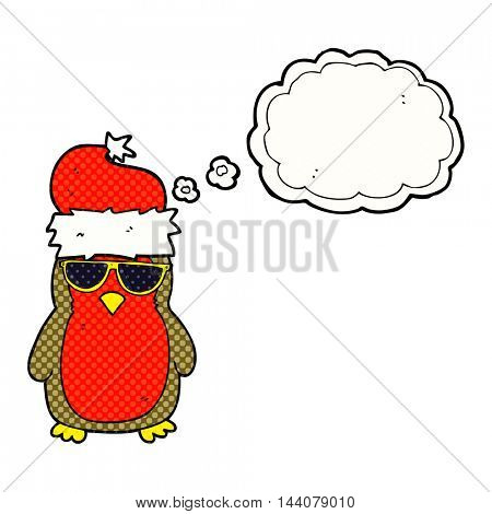 freehand drawn thought bubble cartoon cool christmas robin