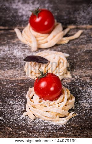 Various Mix Of Pasta On Wooden Rustic Background. Diet And Food