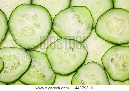 fresh slice cucumber macro background diet concept