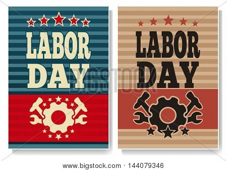 Set colored banners for Labor Day. Vector illustration