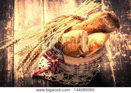 Fresh Bread On Wooden Table ,vintage Filter
