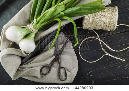 Fresh Spring Onions And Old Scissors