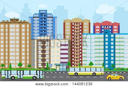 Modern City View. Cityscape with office and residential buildings, trees, road with bus and car, blue background with clouds. vector illustration in flat style