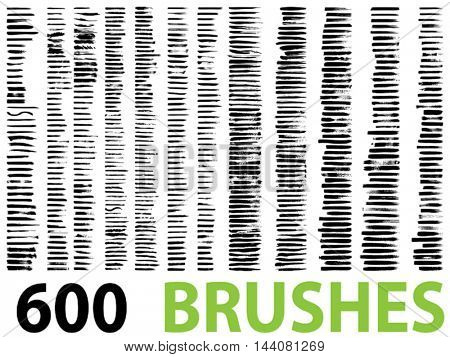 Vector very large collection or set of 600 artistic black paint hand made creative brush strokes isolated on white background, metaphor to art, grunge or grungy, education or abstract design