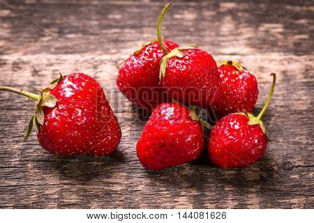 Fresh Strawberry On Wooden Table Healthy Food