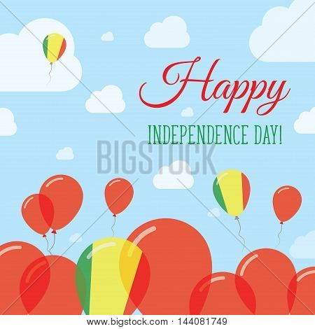 Mali Independence Day Flat Patriotic Design. Malian Flag Balloons. Happy National Day Vector Card.