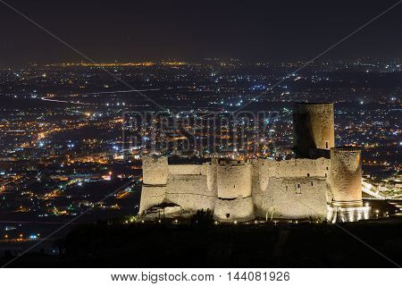 Illuminated city at night and famous building. Panoramic view over beautiful Italian city at nighttime when the buildings are illuminated.
