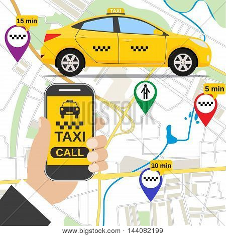 Smartphone with taxi service application on a screen, yellow cab, street map and location pointer on a background. vector illustration in flat design
