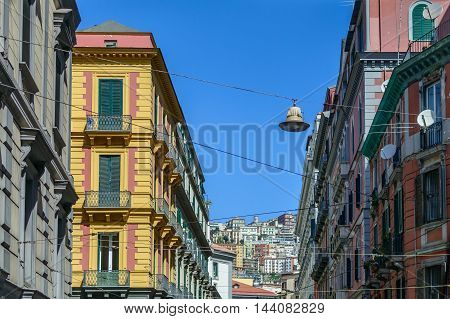 Naples (Napoli) Italy - June 12: Buildings of Naples June 12 2016 in Naples Italy. Architectural details with buildings across street.